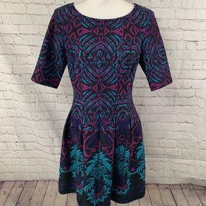 Danny and Nicole Black Purple Fit Flare Dress
